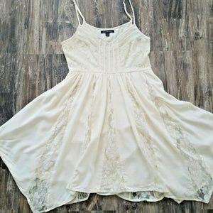 American Eagle Ivory Lace Panel Babydoll Dress | 2